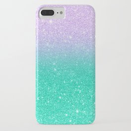 Mermaid purple teal aqua FAUX glitter ombre gradient iPhone Case