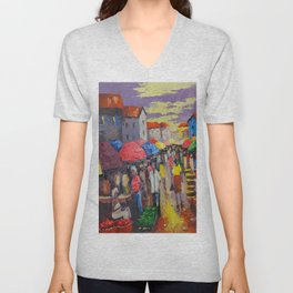 A Busy Crowded Market Unisex V-Neck