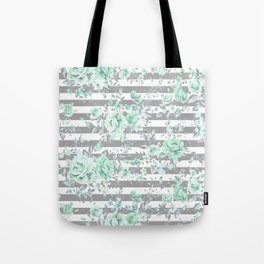 MINT FLORAL GRAY STRIPES SPRING Tote Bag
