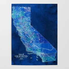 California, blue old vintage map, original art for office decor Poster