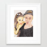 ariana grande Framed Art Prints featuring Ariana and Justin by Share_Shop