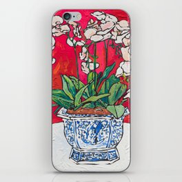 Orchid in Blue-and-white Bird Pot on Red after Matisse iPhone Skin