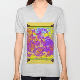 Purple Monarch  Butterflies  Surrealism Yellow Art Unisex V-Neck