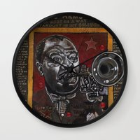 louis armstrong Wall Clocks featuring Louis Armstrong by Ray Stephenson