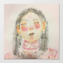 Pink Turtle Neck Girl Canvas Print