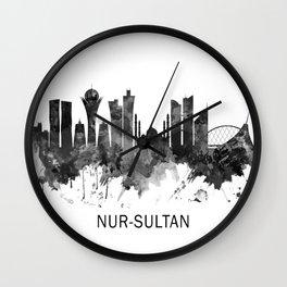 Nur-Sultan Kazakhstan Skyline BW Wall Clock