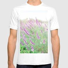 Purple Flowers Mens Fitted Tee MEDIUM White