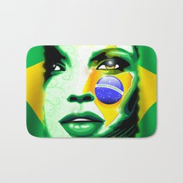 Brazil Flag Girl Portrait Bath Mat