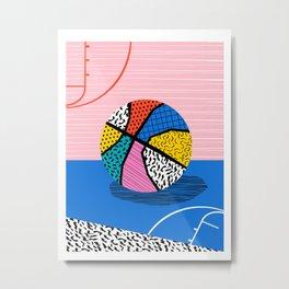 Dish - memphis art print, basketball art print, sports art print, 80s art prints, retro art Metal Print
