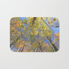 Brightly colored Autumn tree tops Bath Mat