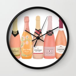 Rose Champagne Bottles Wall Clock