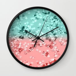 Summer Vibes Glitter Stars #1 #coral #mint #shiny #decor #art #society6 Wall Clock