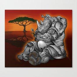 Tender Rhino  Canvas Print