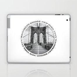 Brooklyn Bridge New York City (black & white with text) Laptop & iPad Skin