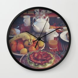 Food photography, fruit still life, kitchen wall art, bed & breakfast, food porn, fine art Wall Clock