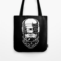 robocop Tote Bags featuring Hey, Robocop! by OneAppleInBox
