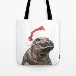 Christmas Baby Hippo Tote Bag