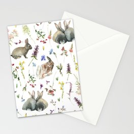 Bunnies And Wildflowers Watercolor  Meadow  Stationery Cards