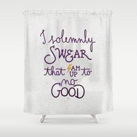 snape Shower Curtains featuring I am up to no good by Earthlightened
