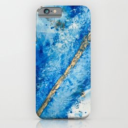 Blue Skies [2]: a pretty, abstract mixed-media piece in blue, gold and white iPhone Case