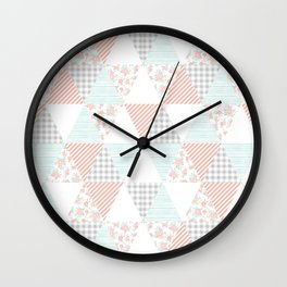 Quilt nursery cheater quilt minimal floral camping pattern modern color palette Wall Clock