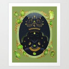 Leo Zodiac Queen | August Birthday | Peridot Birthstone Art Print