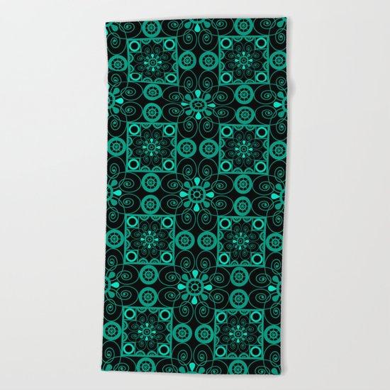 Retro . Black turquoise ornament . Beach Towel