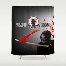 ZGB Zombie Go Boom Executioner with Katana  Shower Curtain