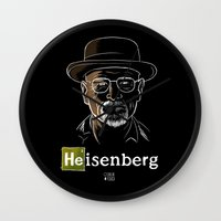 heisenberg Wall Clocks featuring Heisenberg by Caroline Fogaça