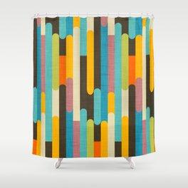 Retro Color Block Popsicle Sticks Blue Shower Curtain