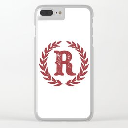 Rustic Red Monogram: Letter R Clear iPhone Case