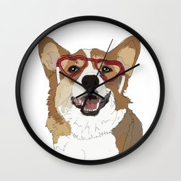 Corgi dog red heart shaped glasses Wall Clock