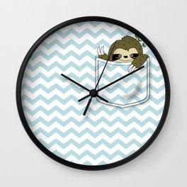 sloth in my pocket Wall Clock