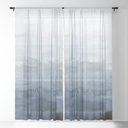 Indigo Abstract Painting | No. 4 Sheer Curtain