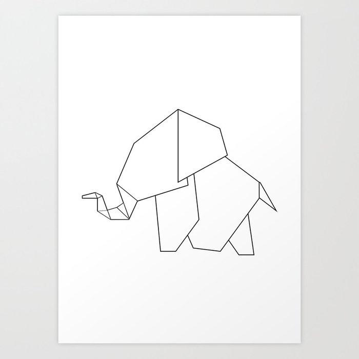 Origami Elephant Art Print By Jewelsandgraphicsberlin Society6