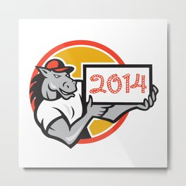 Year of Horse 2014 Showing Sign Cartoon Metal Print