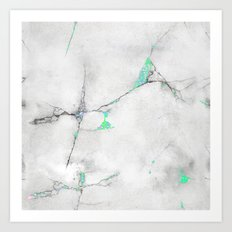 Green Cracked Design Art Print