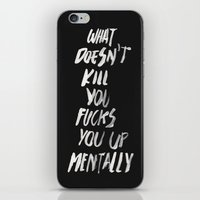 onesie iPhone & iPod Skins featuring Mentally, alternative by WRDBNR