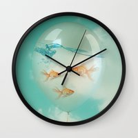 balloon Wall Clocks featuring balloon fish 03 by Vin Zzep