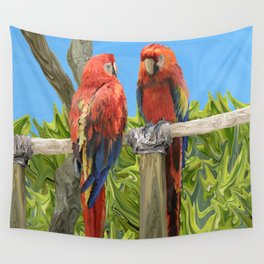 Scarlet Macaw Parrots Perching Wall Tapestry
