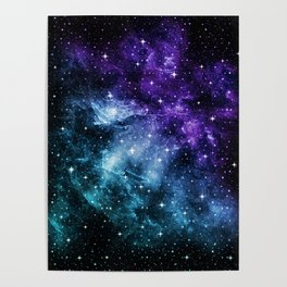 Purple Teal Galaxy Nebula Dream #1 #decor #art #society6 Poster