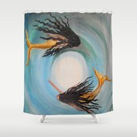 twins Shower Curtains featuring Twins by RokinRonda