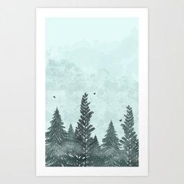 Foggy Zen Forest Art Print