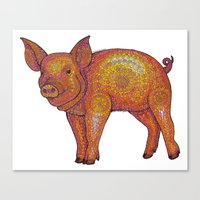 piglet Canvas Prints featuring Patterned Piglet by Emilie Darlington