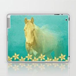 Golden ghost horse on teal Laptop & iPad Skin