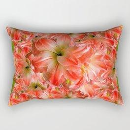 Peppermint Color Amaryllis Flower Avocado Pattern Rectangular Pillow