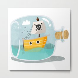 Pirate ship in a bottle - I Metal Print