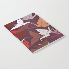 Japanese Origami paper cranes symbol of happiness, luck and longevity, sketch Notebook