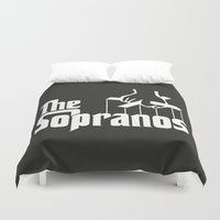 the godfather Duvet Covers featuring The Sopranos Logo (White) (The Godfather mashup) by Agu Luque
