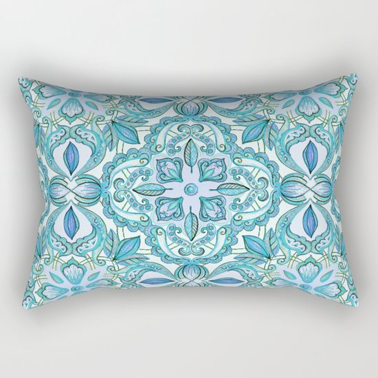 Colored Crayon Floral Pattern in Teal & White Rectangular Pillow